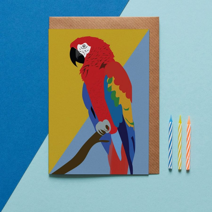 Greetings Card Luxury Designer Personalised Message Sustainable Environmentally Friendly FSC Paper Plastic Free - coco the macaw greeting card designed by Lorna Syson