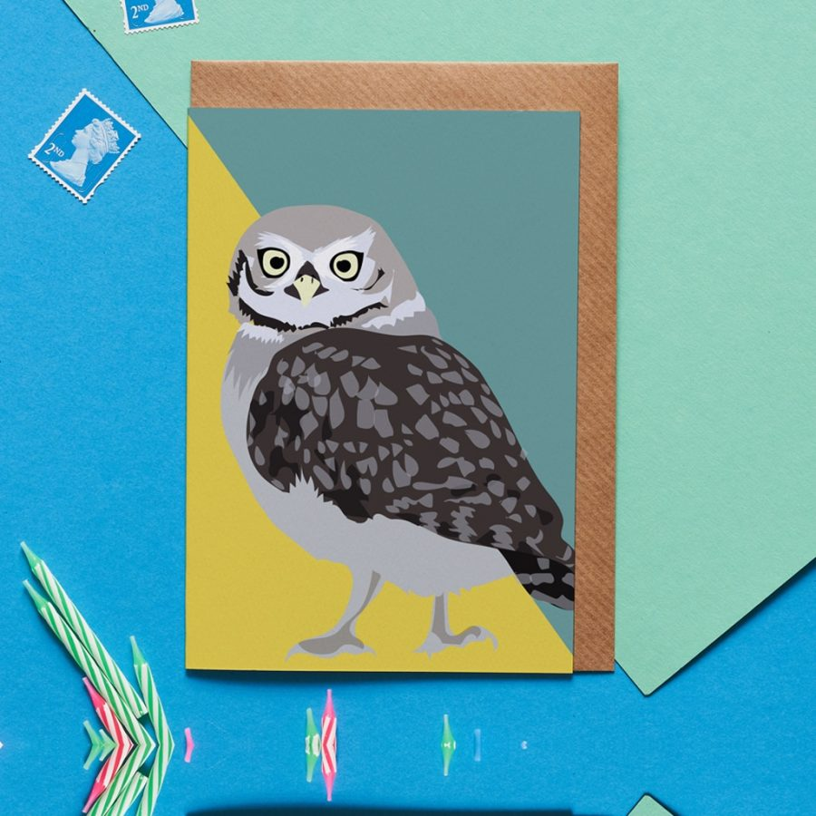 Oliver the owl greeting card designed by Lorna Syson