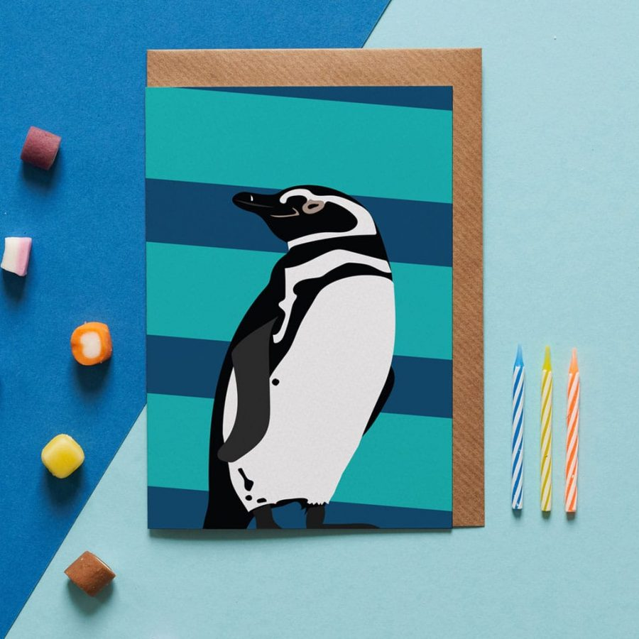 Greetings Card Luxury Designer Personalised Message Sustainable Environmentally Friendly FSC Paper Plastic Free - patrick the penguin greeting card designed by Lorna Syson