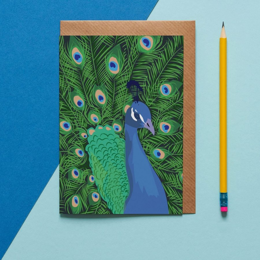 Greetings Card Luxury Designer Personalised Message Sustainable Environmentally Friendly FSC Paper Plastic Free - the peacock greeting card designed by Lorna Syson