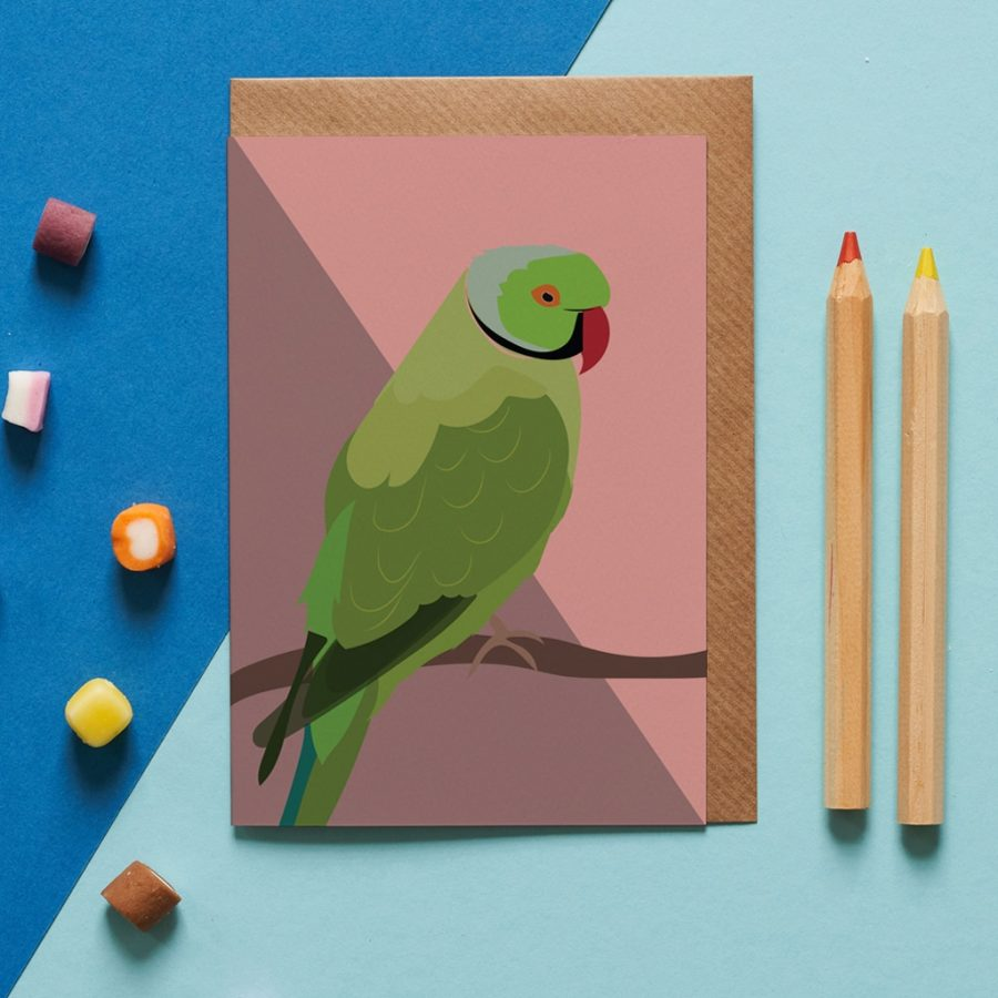 Queenie the parakeet greeting card designed by Lorna Syson