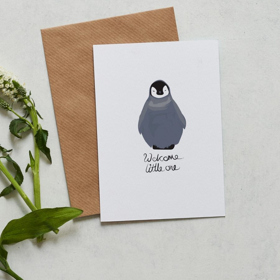 Greetings Card Luxury Designer Personalised Message Sustainable Environmentally Friendly FSC Paper Plastic Free Welcome little one new baby penguin card designed by Lorna Syson