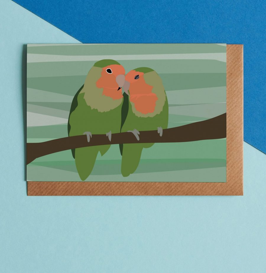 Greetings Card Luxury Designer Personalised Message Sustainable Environmentally Friendly FSC Paper Plastic Free - love birds greeting card illustrated by Lorna Syson
