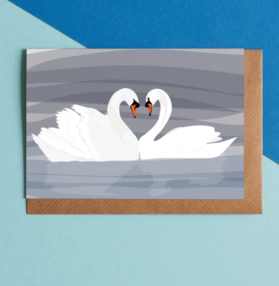 Greetings Card Luxury Designer Personalised Message Sustainable Environmentally Friendly FSC Paper Plastic Free - Swan greeting card illustration by Lorna Syson