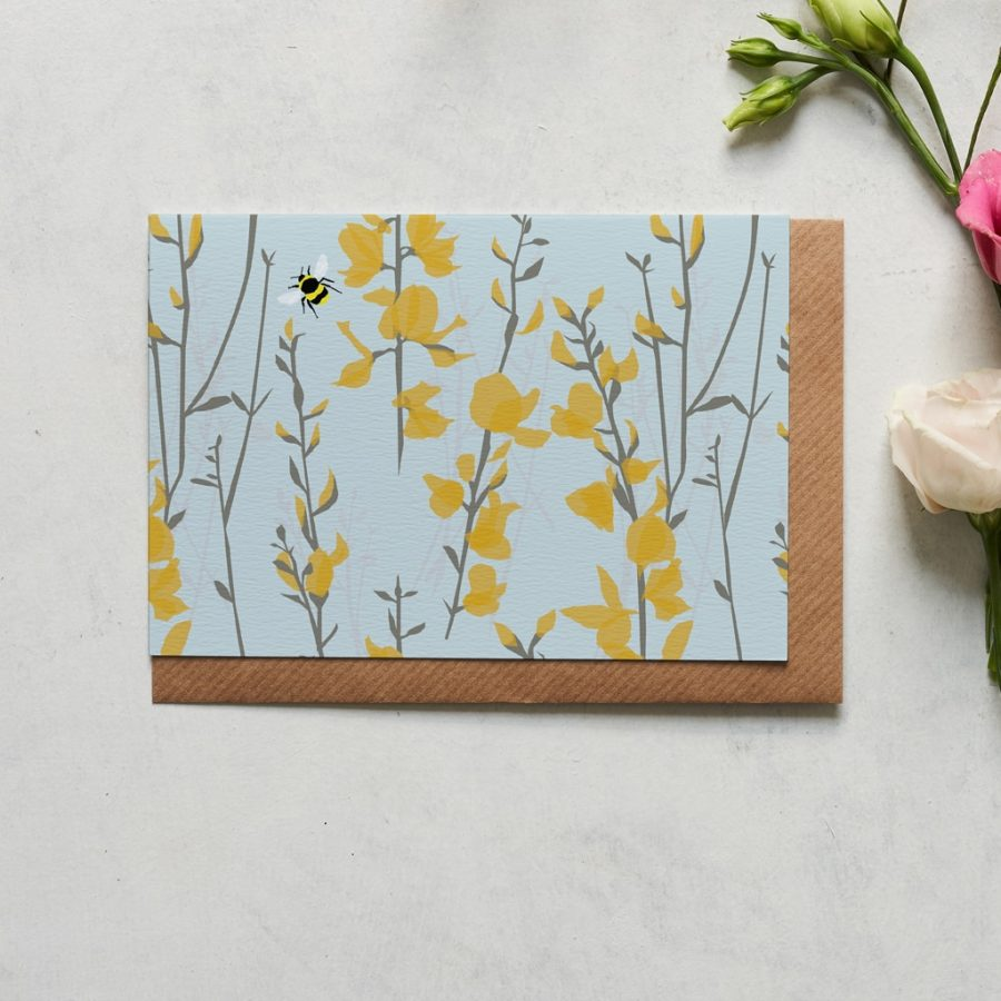 Greetings Card Luxury Designer Personalised Message Sustainable Environmentally Friendly FSC Paper Plastic Free - Broom and Bee greeting card designed by Lorna Syson