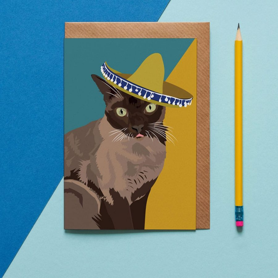 Greetings Card Luxury Designer Personalised Message Sustainable Environmentally Friendly FSC Paper Plastic Free - siamesecat
