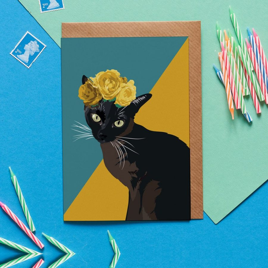 Greetings Card Luxury Designer Personalised Message Sustainable Environmentally Friendly FSC Paper Plastic Free - siamese cat in flower crown cat