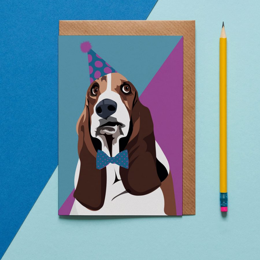Greetings Card Luxury Designer Personalised Message Sustainable Environmentally Friendly FSC Paper Plastic Free - basset hound