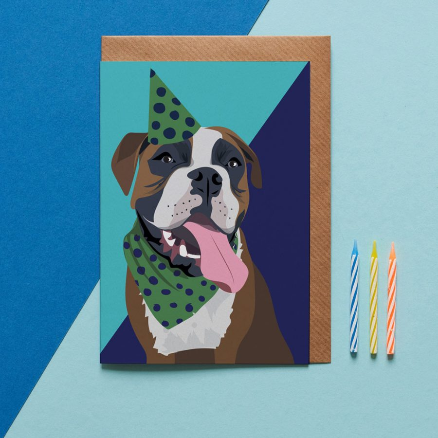 duke the boxer dog illustration with party hat and bandana designed by Lorna Syson