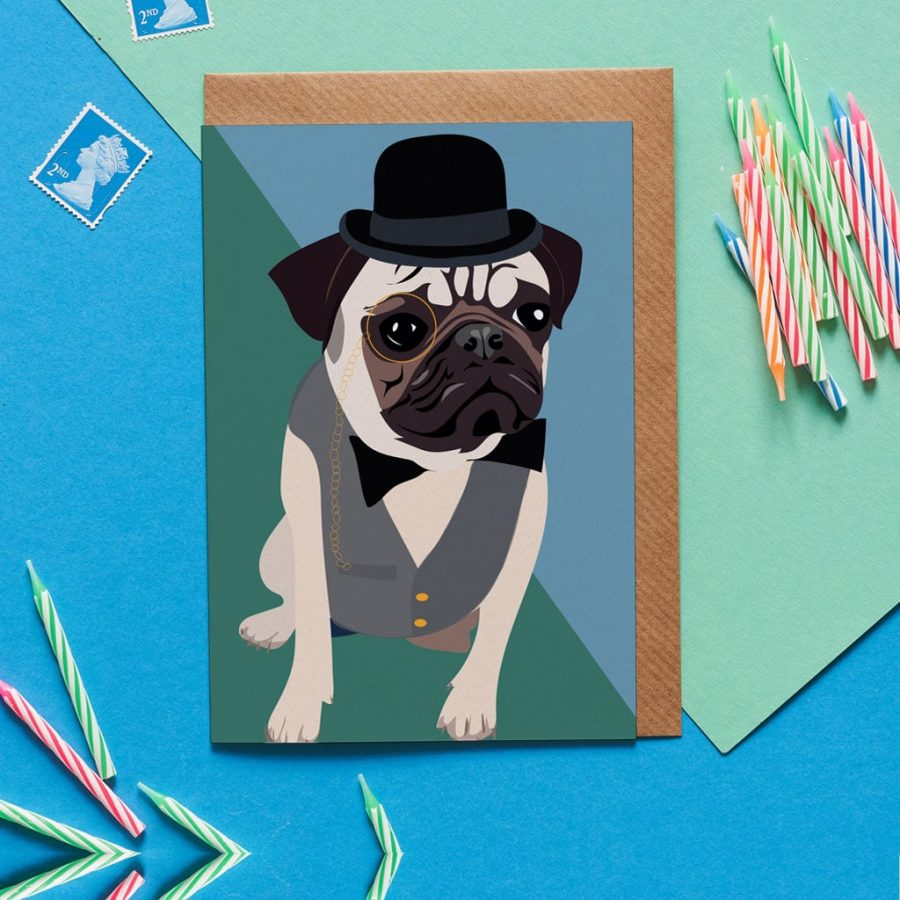 Greetings Card Luxury Designer Personalised Message Sustainable Environmentally Friendly FSC Paper Plastic Free - gentleman pug