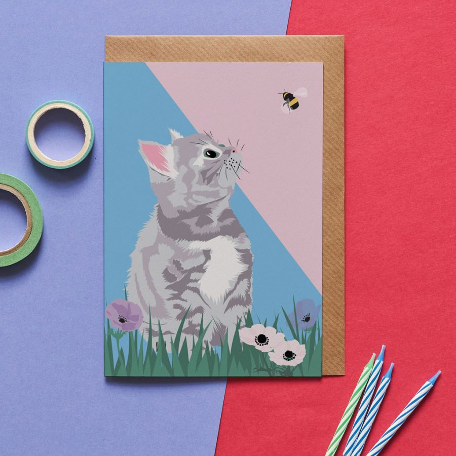 Greetings Card Luxury Designer Personalised Message Sustainable Environmentally Friendly FSC Paper Plastic Free - grey tabby cat