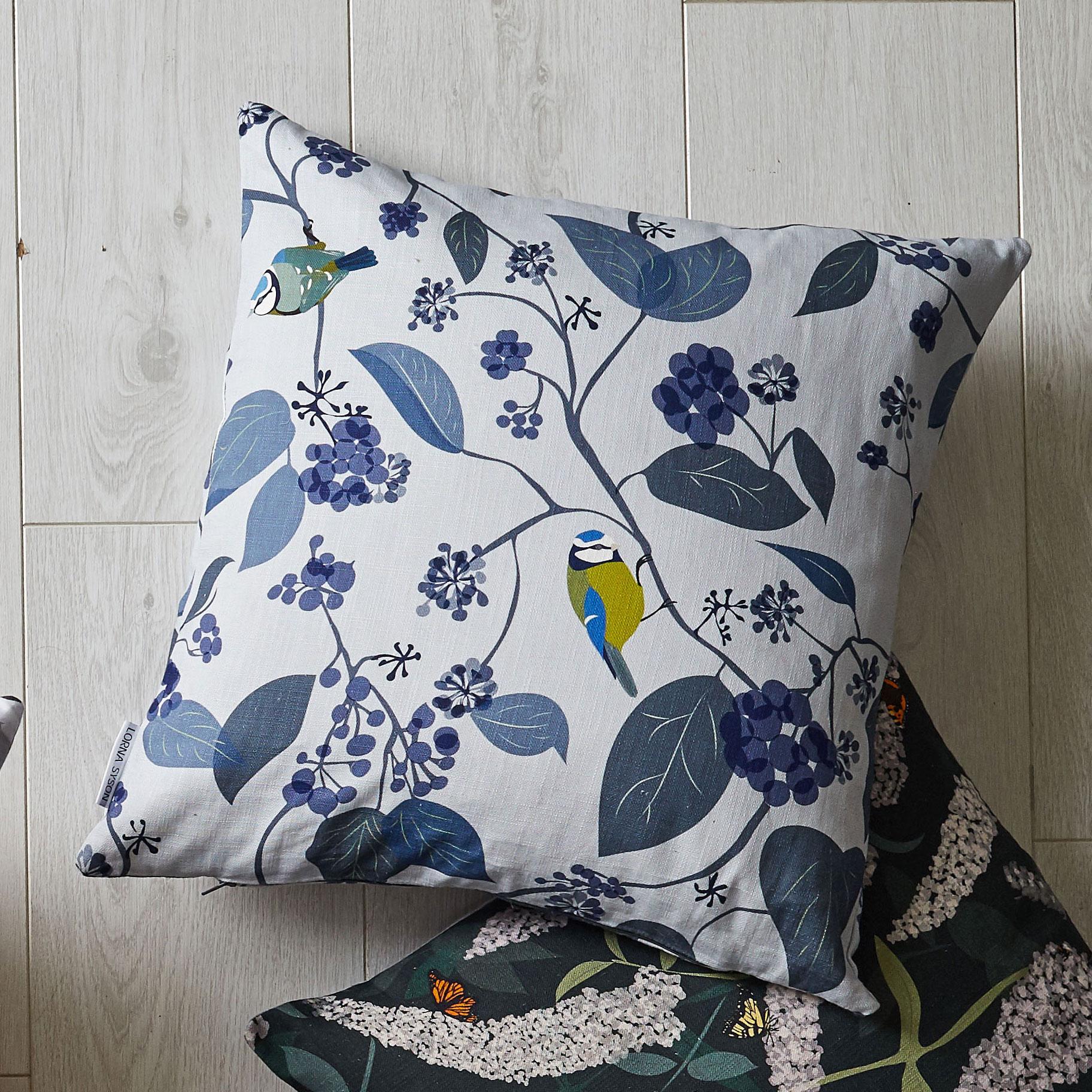 blue tit cushion