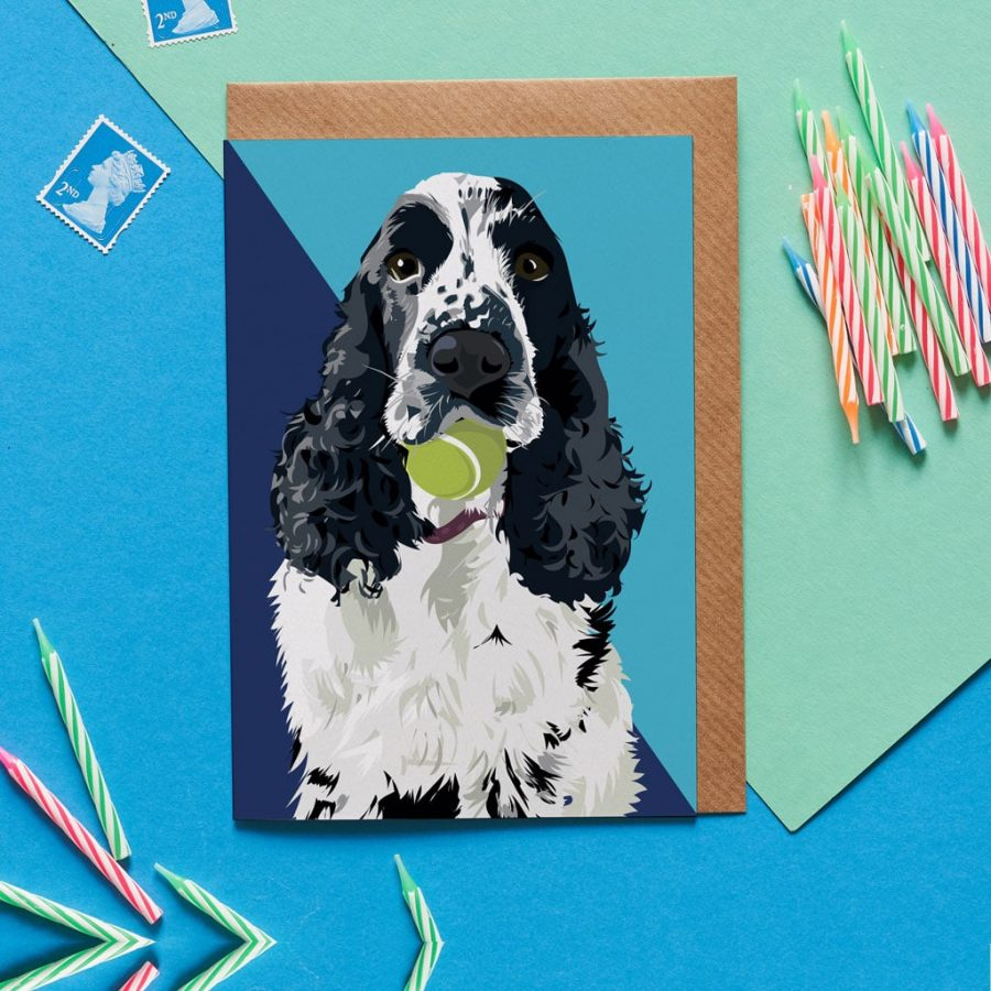 Greetings Card Luxury Designer Personalised Message Sustainable Environmentally Friendly FSC Paper Plastic Free - cocker spaniel