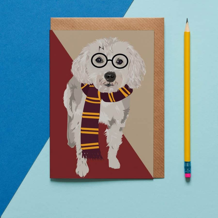 Greetings Card Luxury Designer Personalised Message Sustainable Environmentally Friendly FSC Paper Plastic Free - cockapoo school dog