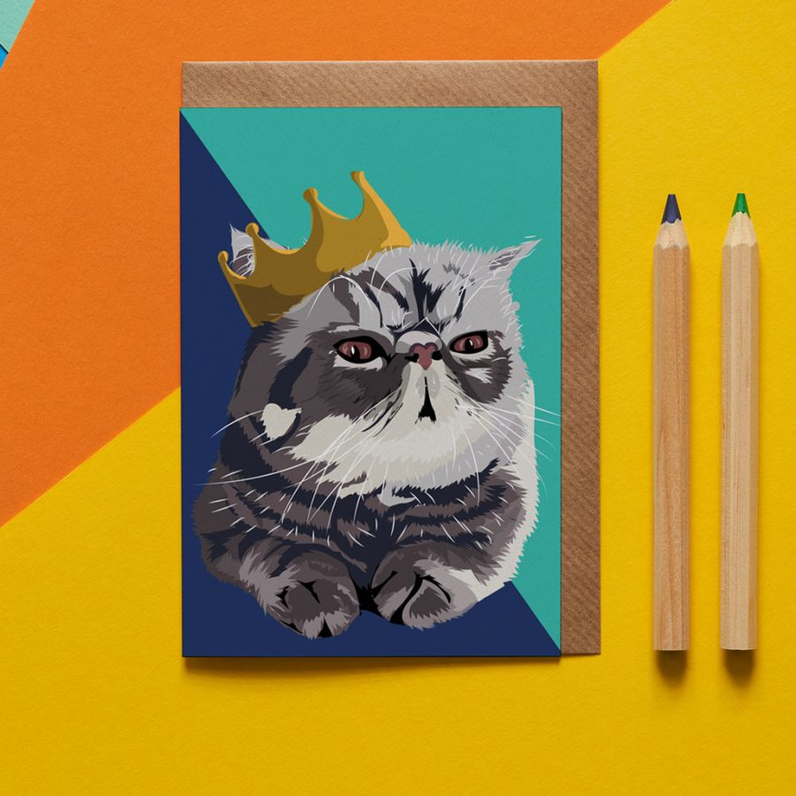 Greetings Card Luxury Designer Personalised Message Sustainable Environmentally Friendly FSC Paper Plastic Free -cat in crown