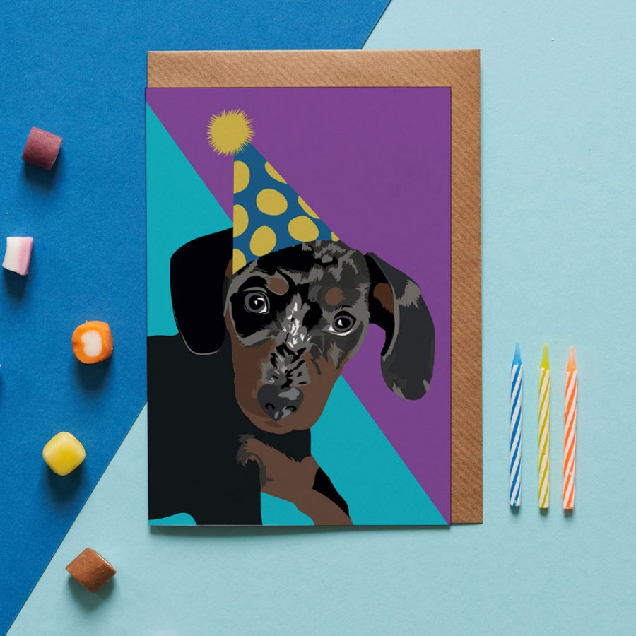 Greetings Card Luxury Designer Personalised Message Sustainable Environmentally Friendly FSC Paper Plastic Free - birthday sausage dog