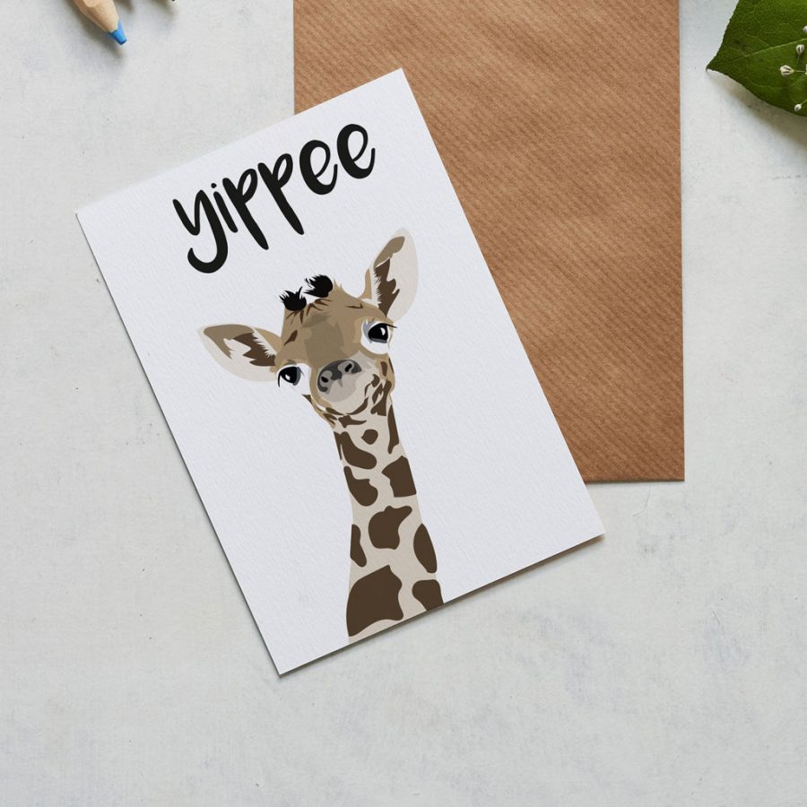 Greetings Card Luxury Designer Personalised Message Sustainable Environmentally Friendly FSC Paper Plastic Free - Yippee the giraffe card, for many special occasions including a new baby and graduation card