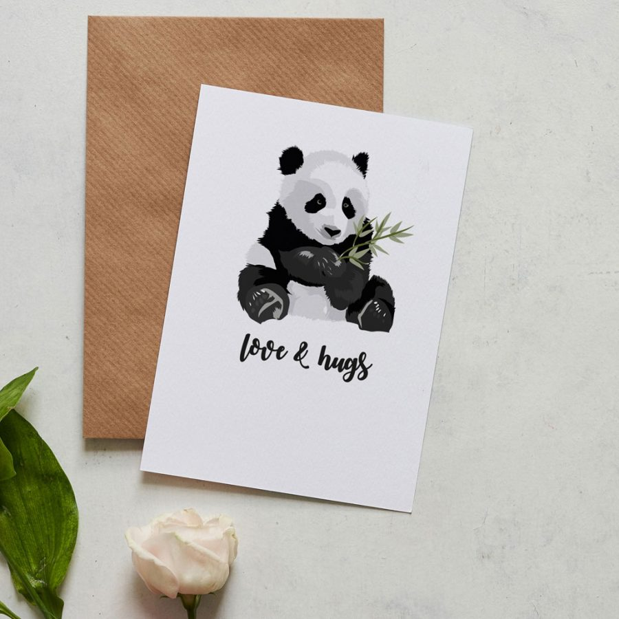 Greetings Card Luxury Designer Personalised Message Sustainable Environmentally Friendly FSC Paper Plastic Free -This love & hugs card lets something know you really care featuring a cuddly panda illustration this card is great for friends birthdays, good news or a card for letting someone know you're there