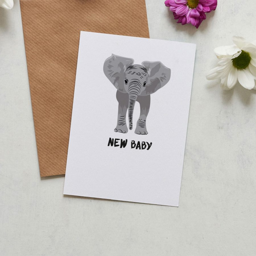 Greetings Card Luxury Designer Personalised Message Sustainable Environmentally Friendly FSC Paper Plastic Free - new baby elephant card, gender neutral new baby card designed by Lorna Syson