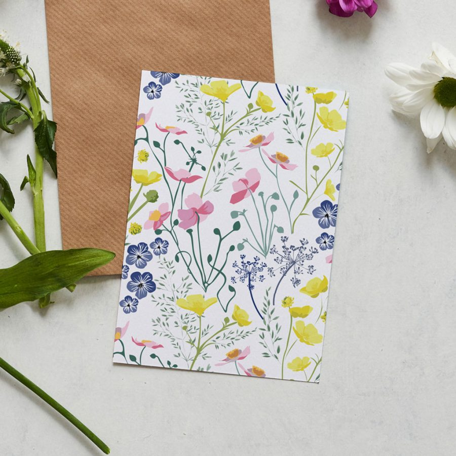 Greetings Card Luxury Designer Personalised Message Sustainable Environmentally Friendly FSC Paper Plastic Free - Meadow greeting card inspired by British wildflowers designed by Lorna Syson