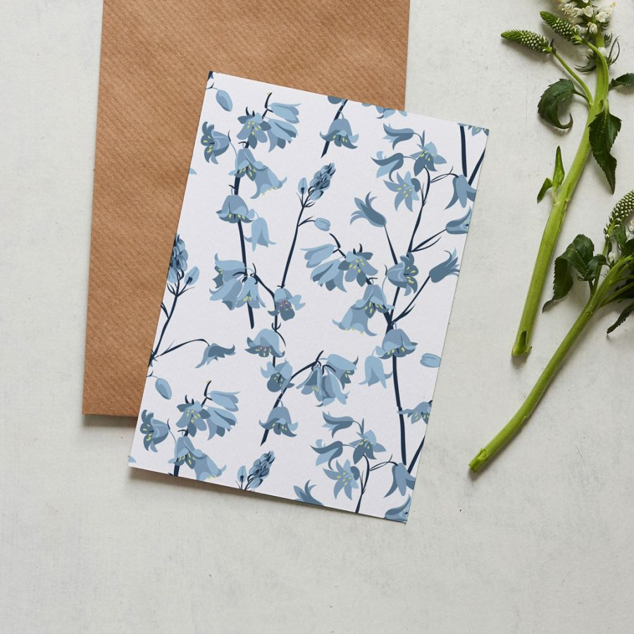Bluebell card designed by Lorna Syson inspired by the dandelion hideaway in Leicestershire