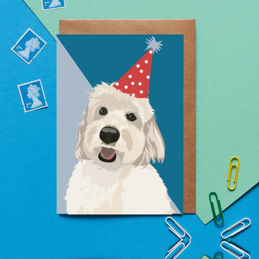 Greetings Card Luxury Designer Personalised Message Sustainable Environmentally Friendly FSC Paper Plastic Free - birthday cockapoo