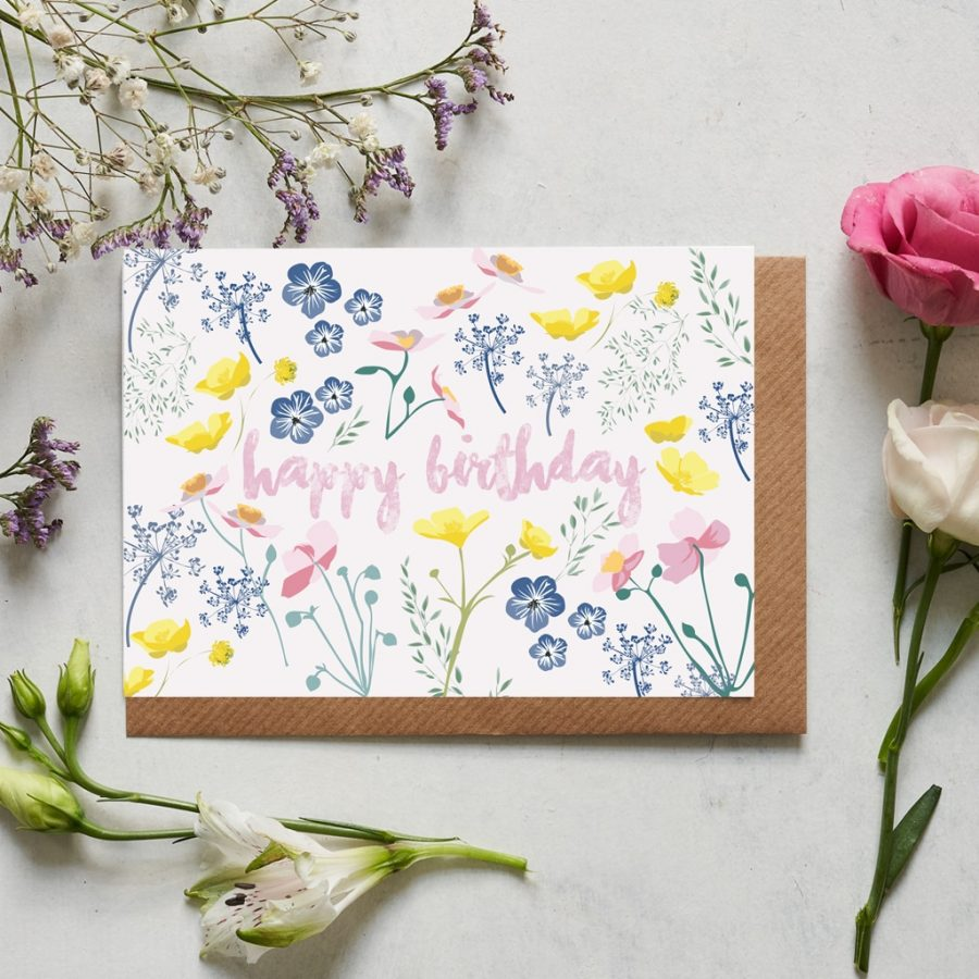 Greetings Card Luxury Designer Personalised Message Sustainable Environmentally Friendly FSC Paper Plastic Free - Happy Birthday floral card designed by Lorna Syson