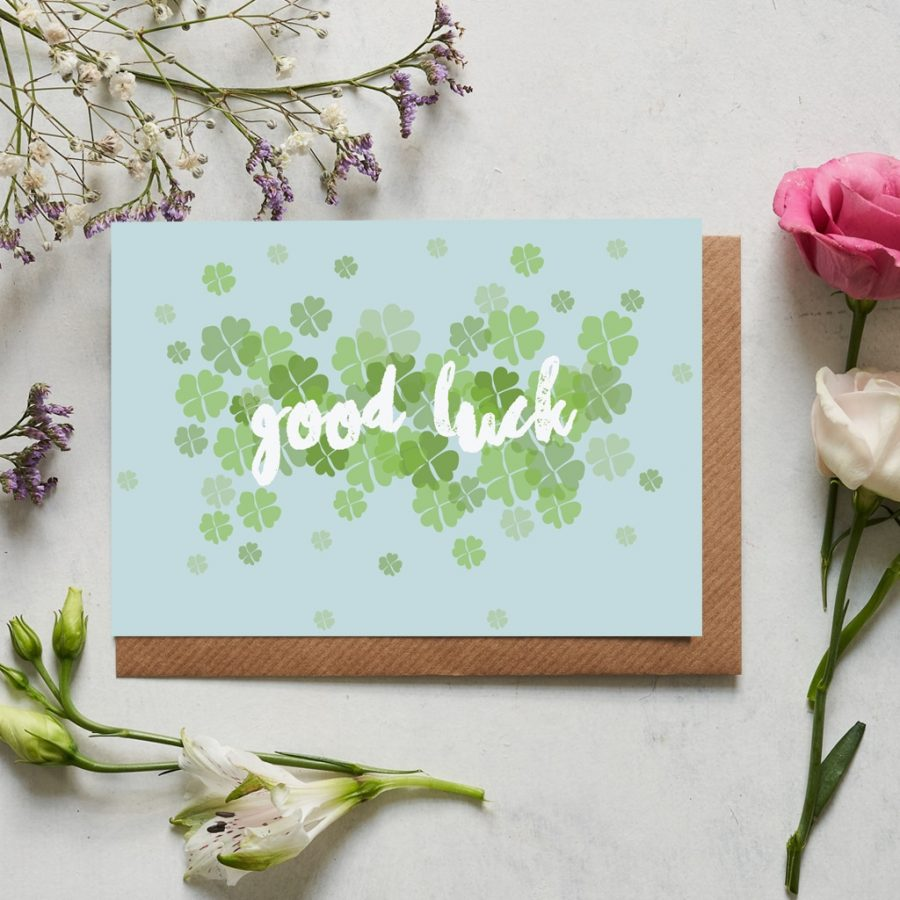 Greetings Card Luxury Designer Personalised Message Sustainable Environmentally Friendly FSC Paper Plastic Free - good luck floral card by Lorna Syson