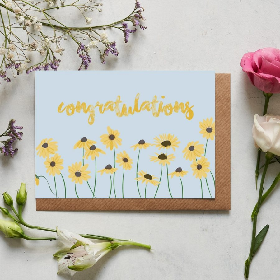 Greetings Card Luxury Designer Personalised Message Sustainable Environmentally Friendly FSC Paper Plastic Free - congratulations floral card with daisies designed by Lorna Syson