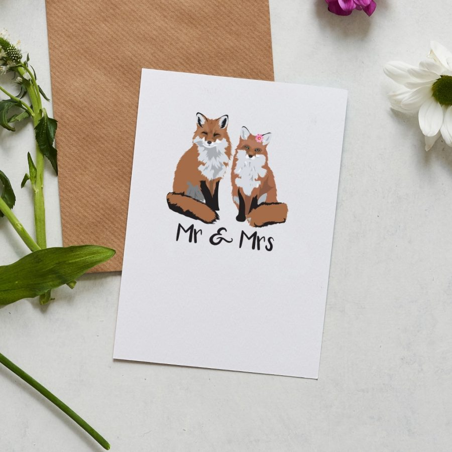 Mr and Mrs wedding card featuring foxes designed by Lorna Syson