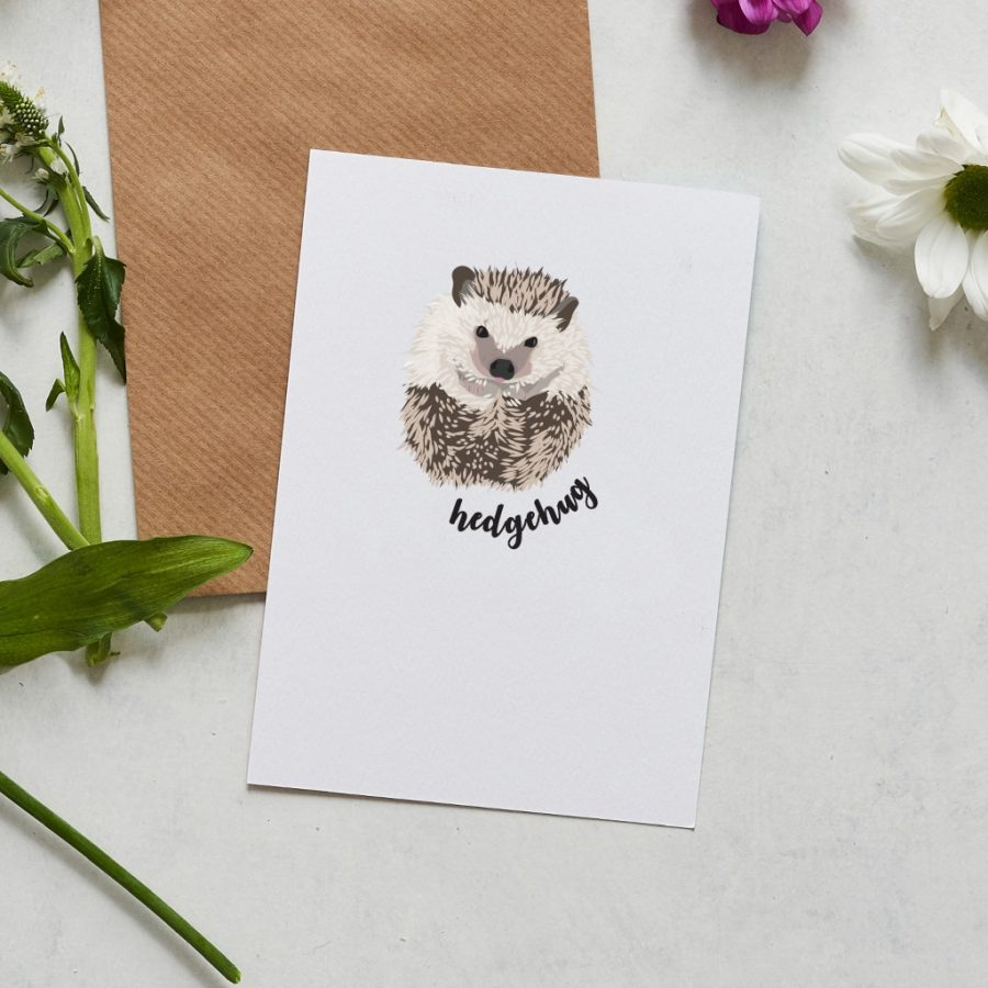 Greetings Card Luxury Designer Personalised Message Sustainable Environmentally Friendly FSC Paper Plastic Free hedgehug greeting card designed by Lorna Syson