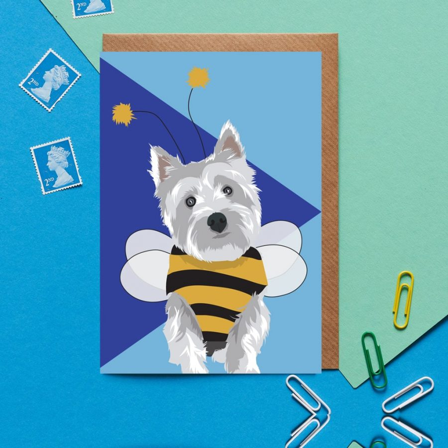 Greetings Card Luxury Designer Personalised Message Sustainable Environmentally Friendly FSC Paper Plastic Free - westie dog