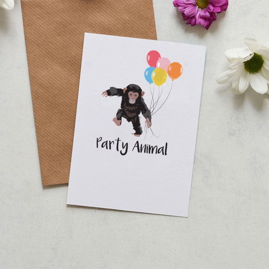 Greetings Card Luxury Designer Personalised Message Sustainable Environmentally Friendly FSC Paper Plastic Free -Party Animal, chimp holding balloons greeting card designed by Lorna Syson