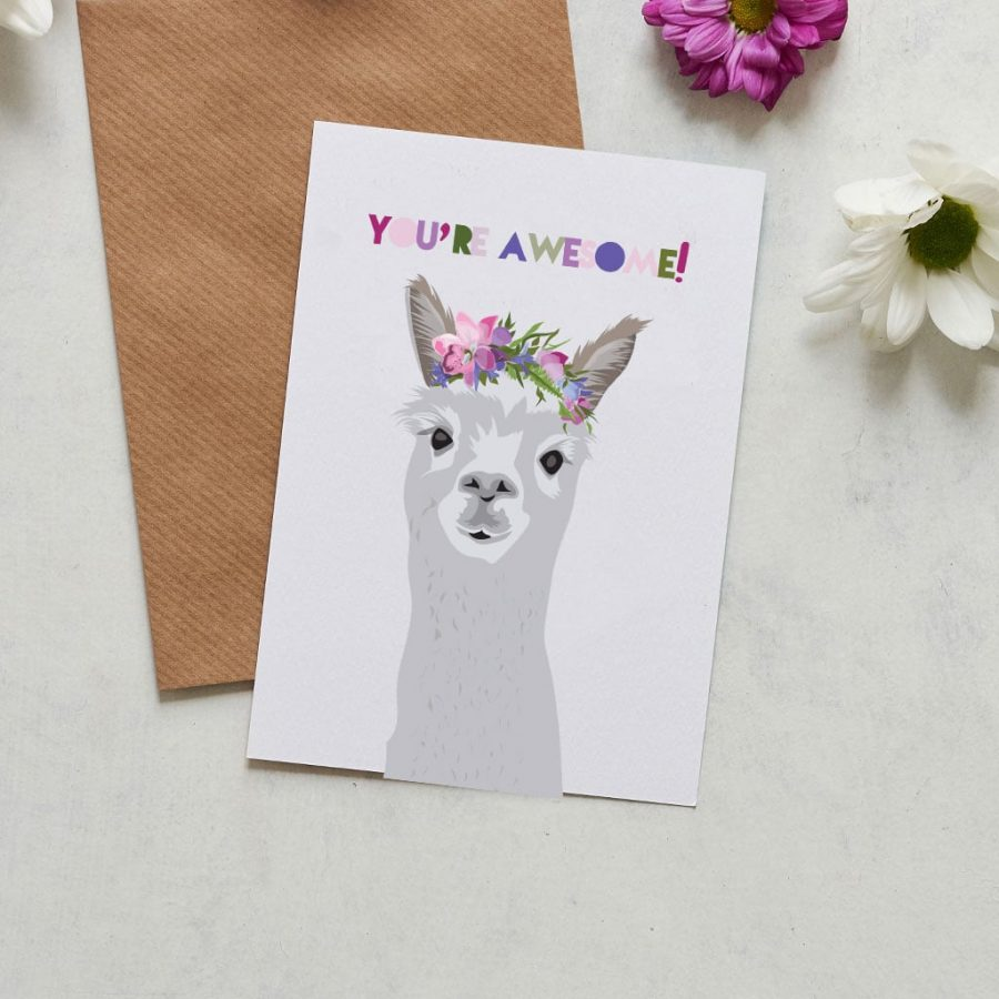 You're Awesome, alpaca, lama card to let people know how much they rock