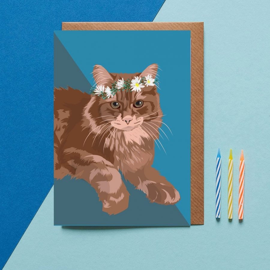 Greetings Card Luxury Designer Personalised Message Sustainable Environmentally Friendly FSC Paper Plastic Free - Maine Coon cat