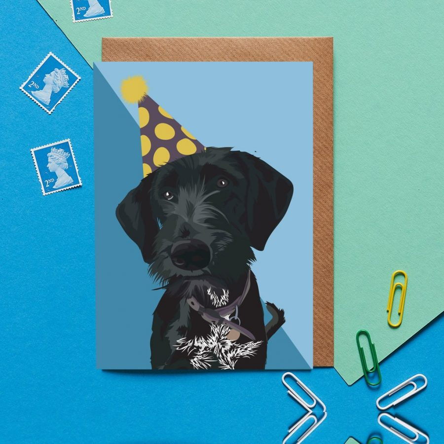 Greetings Card Luxury Designer Personalised Message Sustainable Environmentally Friendly FSC Paper Plastic Free - black terrier