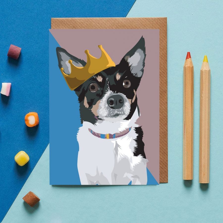 Greetings Card Luxury Designer Personalised Message Sustainable Environmentally Friendly FSC Paper Plastic Free - chihuahua