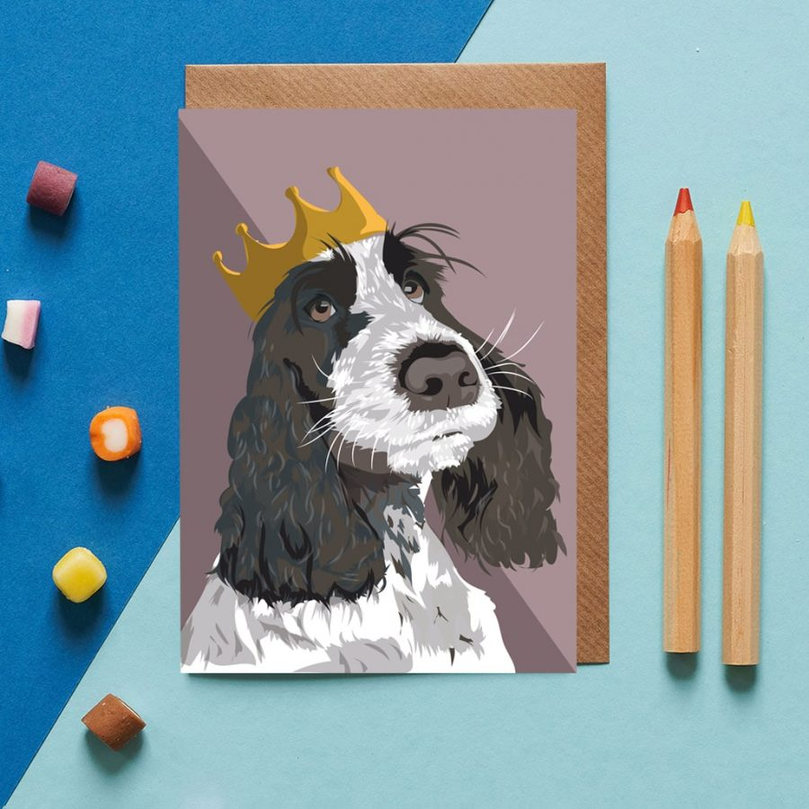 Greetings Card Luxury Designer Personalised Message Sustainable Environmentally Friendly FSC Paper Plastic Free - spaniel wearing a crown
