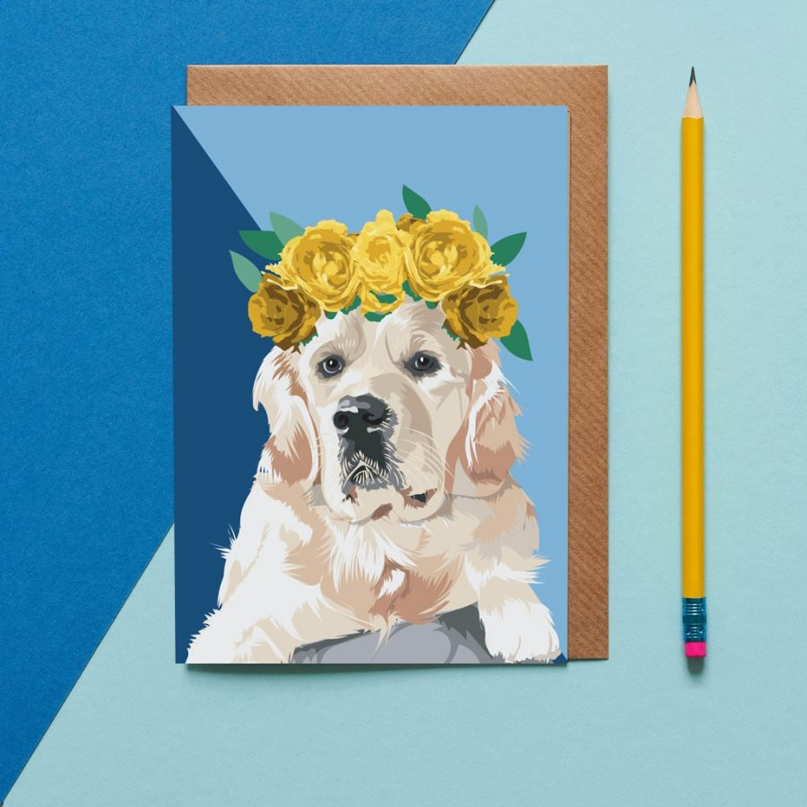 Ellie the golden Retriever wearing a flower crown