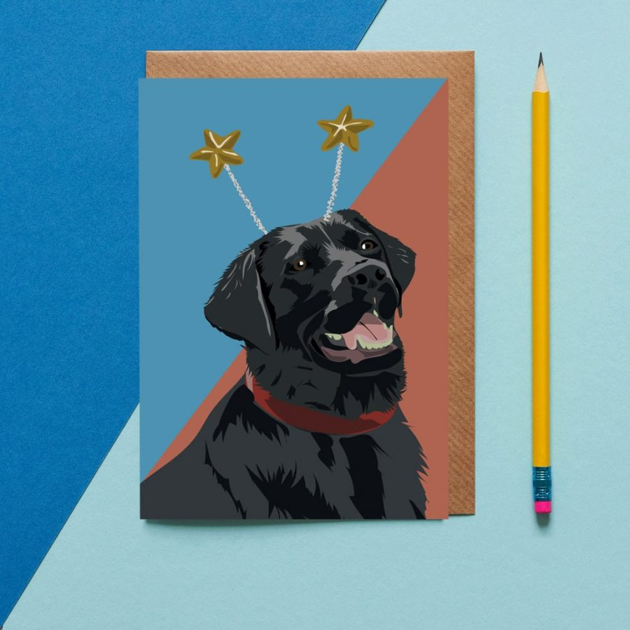 Greetings Card Luxury Designer Personalised Message Sustainable Environmentally Friendly FSC Paper Plastic Free - black labrador