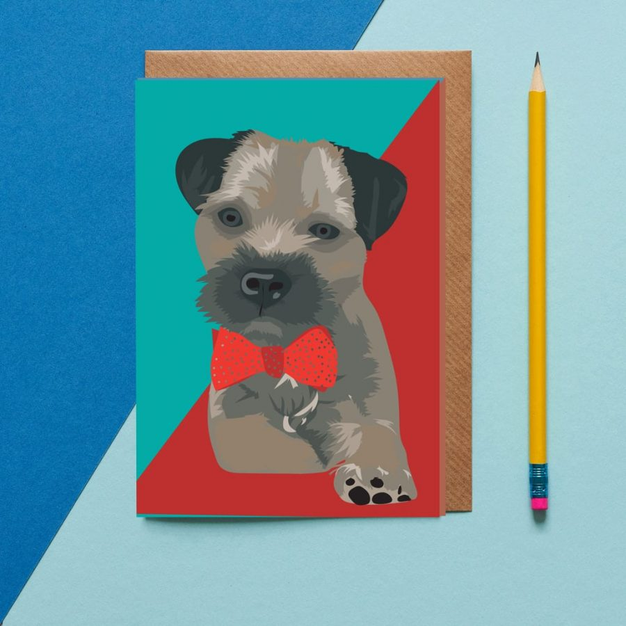 Obi the boarder terrier greeting cards wearing a bow tie designed by Lorna Syson