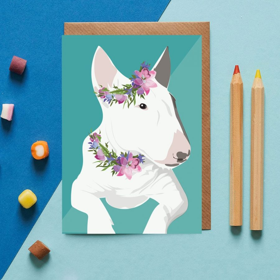 Heidi the Bull Terrier wearing a flower crown designed by Lorna Syson