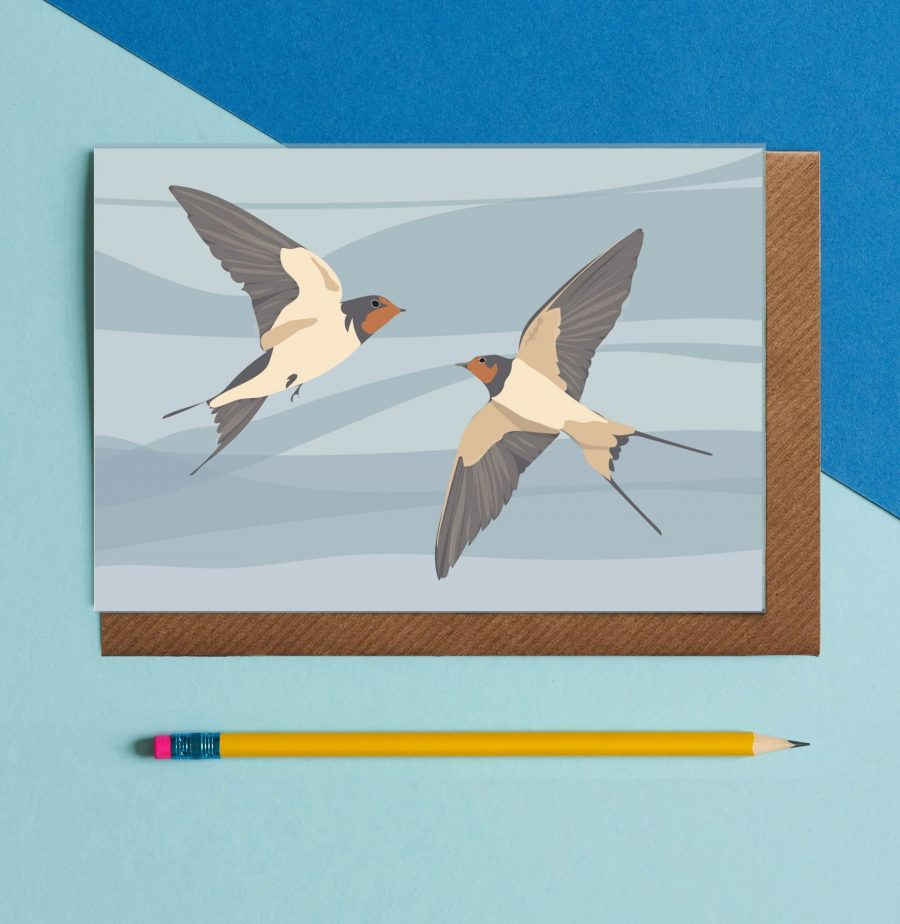 Greetings Card Luxury Designer Personalised Message Sustainable Environmentally Friendly FSC Paper Plastic Free - swallow illustrations by Lorna Syson