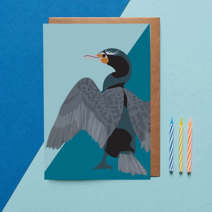 Greetings Card Luxury Designer Personalised Message Sustainable Environmentally Friendly FSC Paper Plastic Free - Cormorant illustration by Lorna Syson for the Bird watching greeting card collection