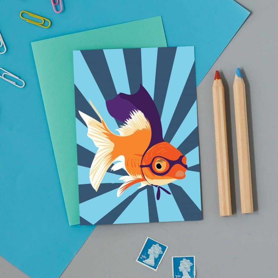 Greetings Card Luxury Designer Personalised Message Sustainable Environmentally Friendly FSC Paper Plastic Free - superhero goldfish