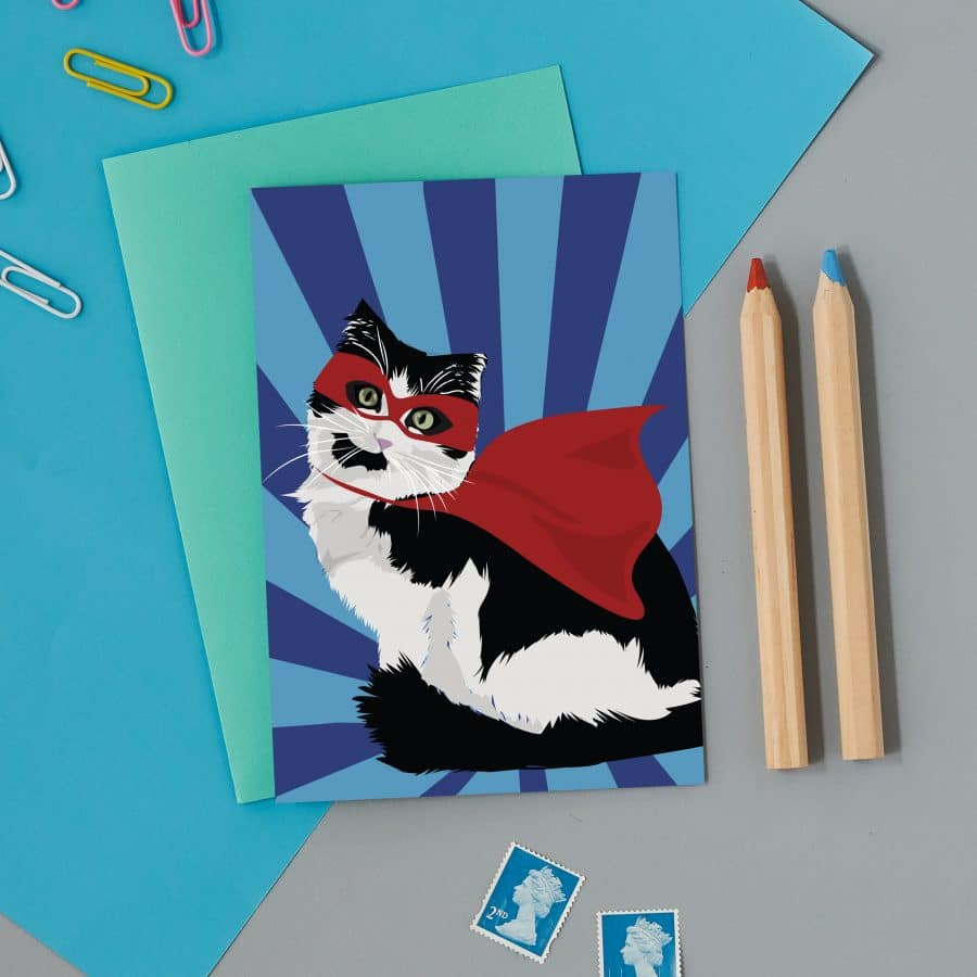 Greetings Card Luxury Designer Personalised Message Sustainable Environmentally Friendly FSC Paper Plastic Free - superhero cat