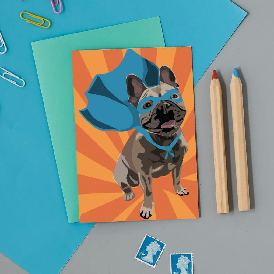 Greetings Card Luxury Designer Personalised Message Sustainable Environmentally Friendly FSC Paper Plastic Free - superhero french bull dog, frenchie