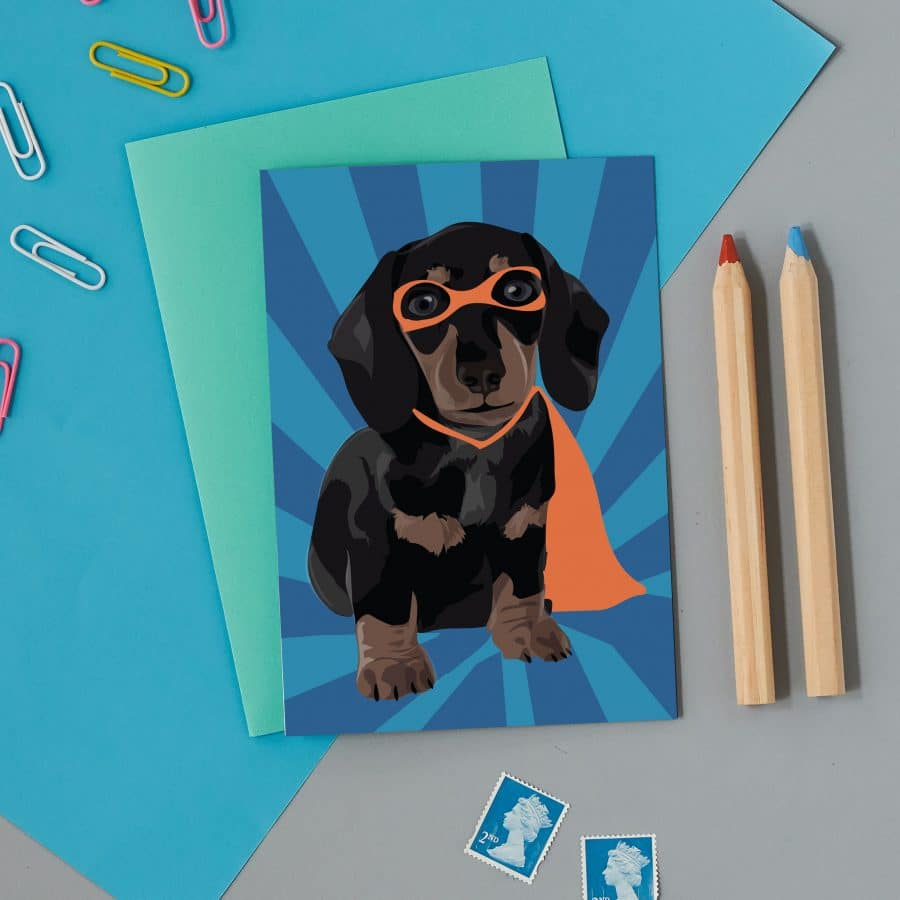 superhero sausage dog card