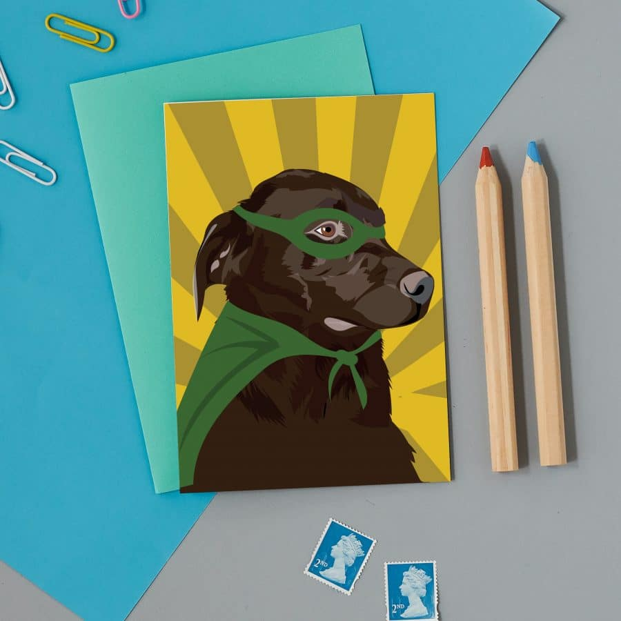 Greetings Card Luxury Designer Personalised Message Sustainable Environmentally Friendly FSC Paper Plastic Free - chocolate lab
