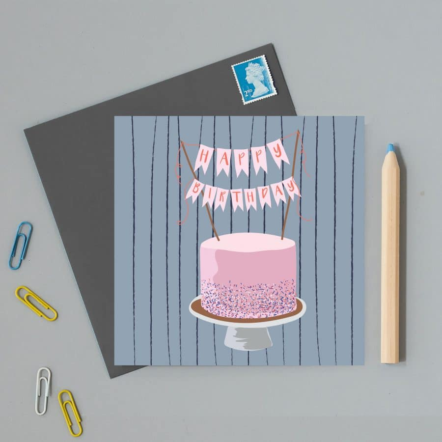 Greetings Card Luxury Designer Personalised Message Sustainable Environmentally Friendly FSC Paper Plastic Free - happy birthday cake illustration